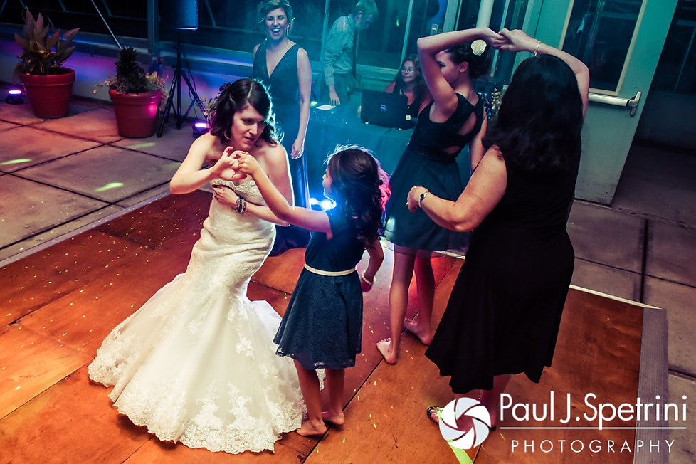 Jen dances with guests during her September 2016 wedding reception at the Roger Williams Park Botanical Center in Providence, Rhode Island.
