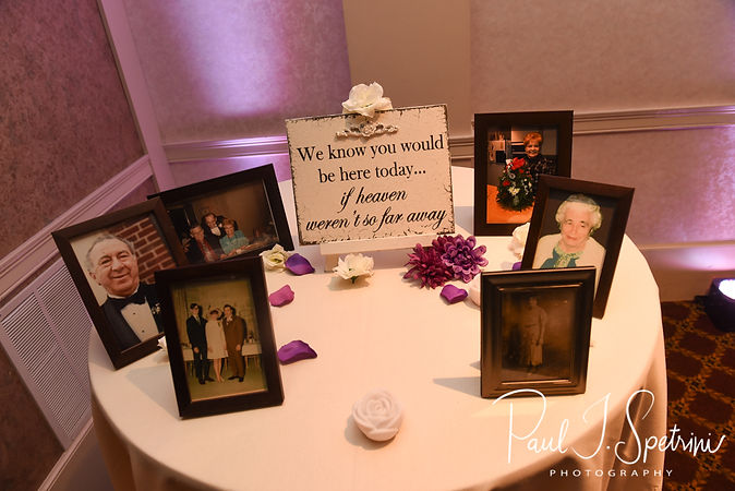 A look at the memory table prior to Robin & Rick's August 2018 wedding reception at Twelve Acres in Smithfield, Rhode Island.