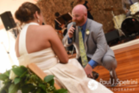 Tim sings to Molly during their June 2017 wedding reception at Farmhouse-By-The-Sea in Matunuck, Rhode Island.