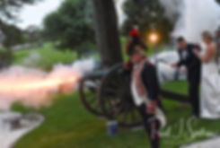 Meghan and Brian light a cannon during their September 2018 wedding reception at Squantum Association in Riverside, Rhode Island.