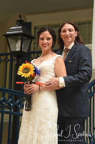 Amanda & Josh pose for a formal photo following their October 2018 wedding ceremony at the Walt Disney World Swan & Dolphin Resort in Lake Buena Vista, Florida.