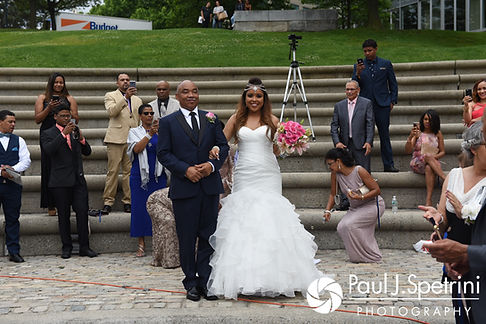 Lucelene walks down the aisle during her June 2017 wedding ceremony at Waterplace Park in Providence, Rhode Island.