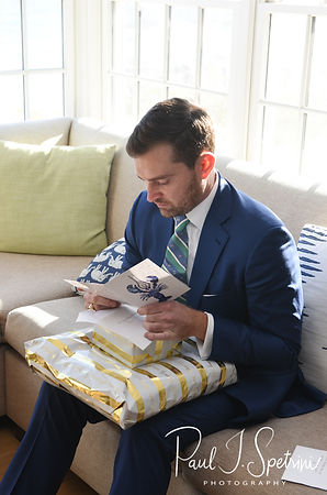 David reads a letter from Whitney prior to his October 2018 wedding ceremony at Castle Hill Inn in Newport, Rhode Island.