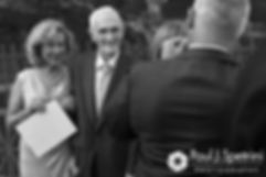 Allison's grandfather looks on during her September 2017 wedding.