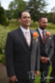 Jacob watches Stephanie walk down the aisle during his June 2018 wedding ceremony at Foster Country Club in Foster, Rhode Island.