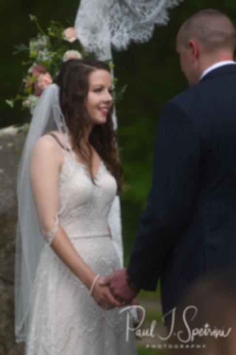 Ryan looks at Mike during her May 2018 wedding ceremony at Bittersweet Farm in Westport, Massachusetts.