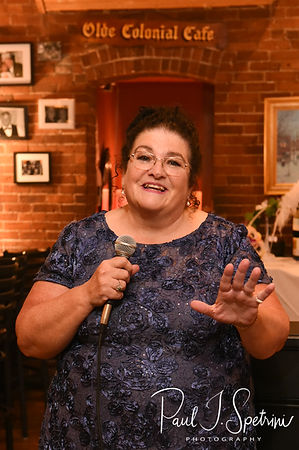 The maid of honor gives a toast during Patti & Bob's August 2018 wedding reception at the Olde Colonial Cafe in Norwood, Massachusetts.