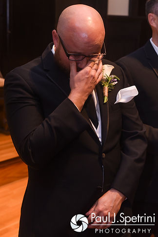 Forrester wipes away a tear after seeing Lisajean for the first time during his October 2016 wedding ceremony at St. Thomas More Church in Narragansett, Rhode Island.