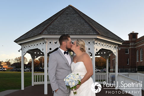 Jennifer and Robert pose for a formal photo following their September 2017 wedding ceremony at Gazebo Park in Narragansett, Rhode Island.