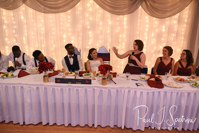 The maid of honor gives a toast during Courtnie and Richardson's August 2018 wedding reception at Emerald Hall in Abington, Massachusetts.