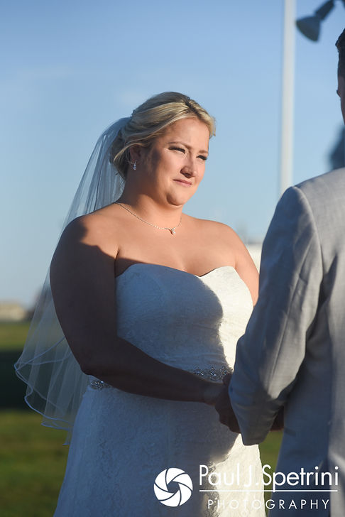 Jennifer looks at Robert during her September 2017 wedding ceremony at Gazebo Park in Narragansett, Rhode Island.