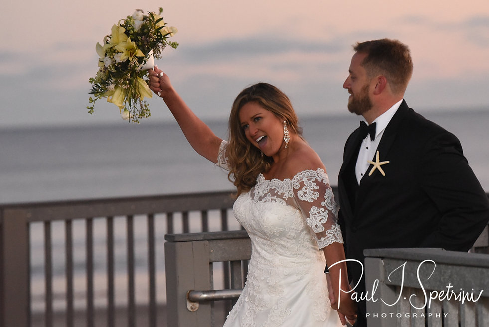 Cara reacts to being introduced during her November 2018 wedding reception at the North Beach Clubhouse in Narragansett, Rhode Island.