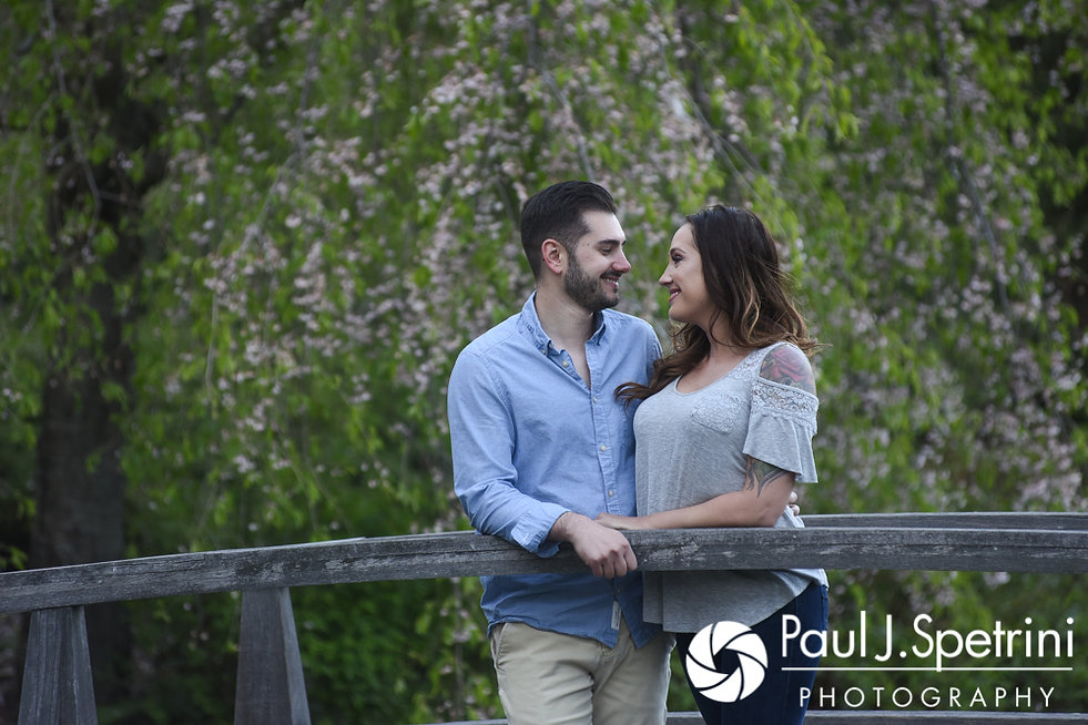 Stacey and John pose for a photo at the Japanese Gardens at Roger Williams Park in Providence, Rhode Island during their May 2017 engagement shoot.