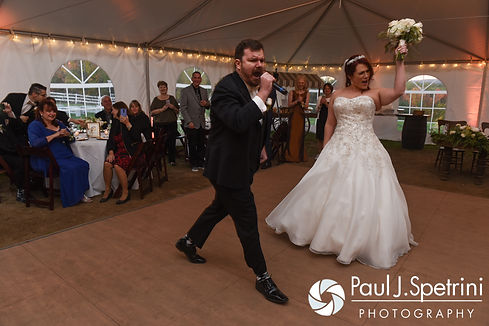 JD and Brooke have a special introduction during their October 2016 wedding reception at The Farm at SummitWynds in Jefferson, Massachusetts.