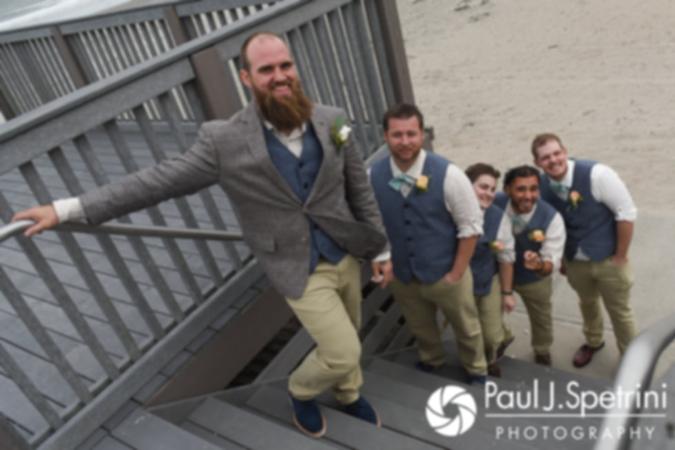 Gary waits with his groomsmen prior to his September 2017 wedding ceremony at North Beach Club House in Narragansett, Rhode Island.