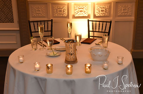 A look at the sweetheart table during Katie & Steve''s October 2018 wedding reception at The Villa at Ridder Country Club in East Bridgewater, Massachusetts.