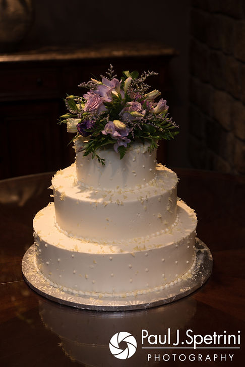 A look at Melissa and Jordan's wedding cake, on display during their May 2017 wedding reception at Independence Harbor in Assonet, Massachusetts.