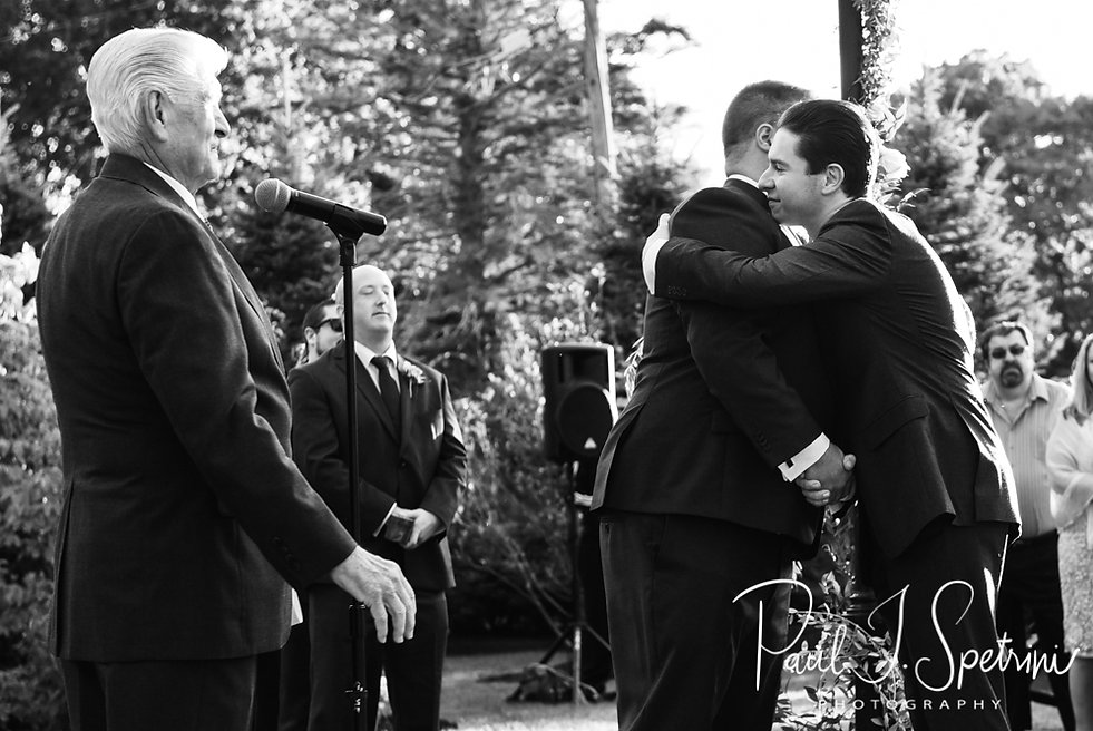 Steve hugs his brother in law during his October 2018 wedding ceremony at The Villa at Ridder Country Club in East Bridgewater, Massachusetts.