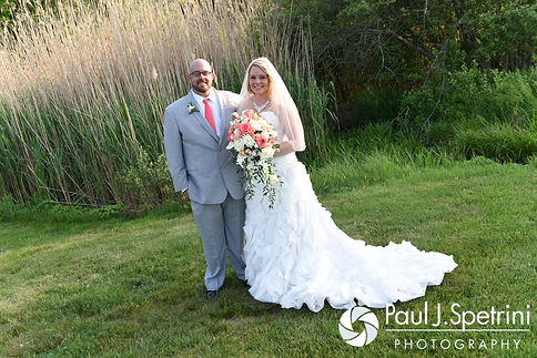 Michelle and Eric smile for formal photos during their May 2016 wedding at Hillside Country Club in Rehoboth, Massachusetts.