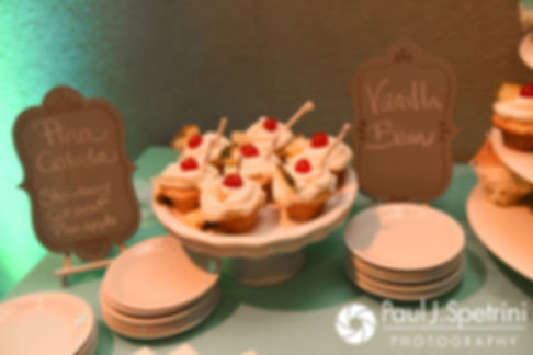 A look at the cupcake stand, on display during Will and Jess' May 2017 wedding reception at the Roger Williams Park Botanical Center in Providence, Rhode Island.