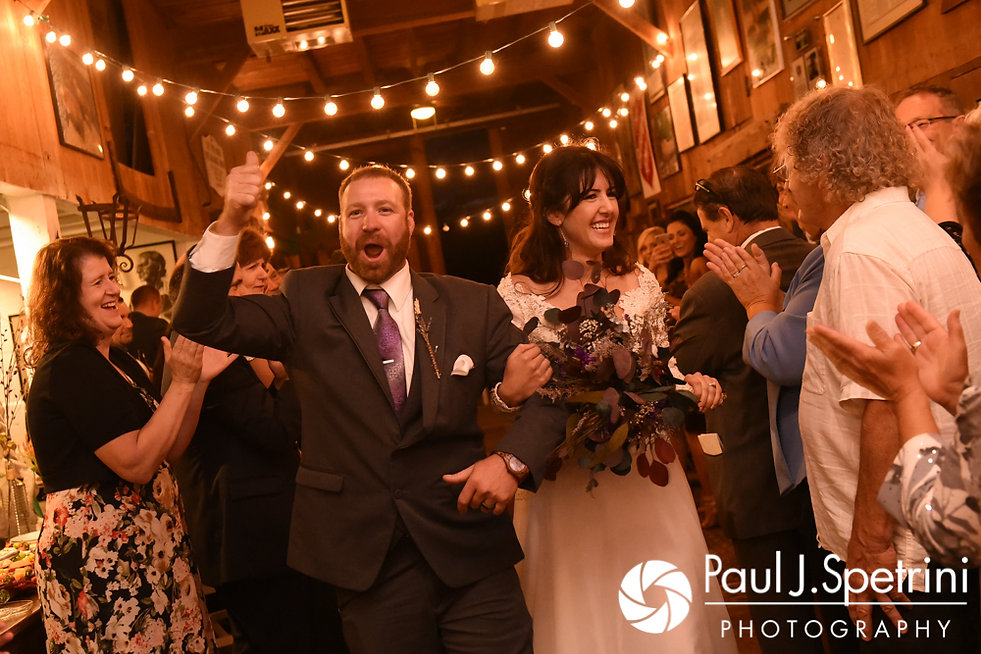 Samantha and Dale are introduced during their October 2017 wedding reception at the Golden Lamb Buttery in Brooklyn, Connecticut.