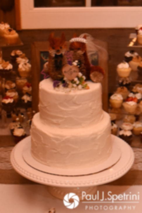 A look at the wedding cake, on display during Jennifer and Kevin's September 2017 wedding reception at Allen Hill Farm in Brooklyn, Connecticut.