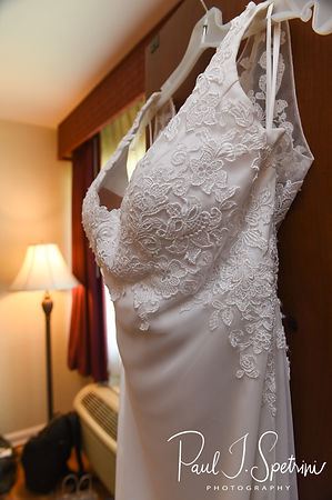 A look at Selah's wedding dress, on display prior to her August 2018 wedding ceremony at The Rotunda Ballroom at Easton's Beach in Newport, Rhode Island.