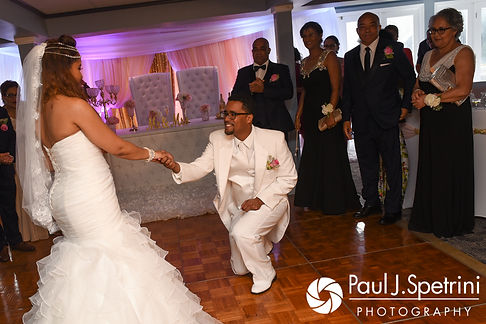 Lucelene and Luis dance during their June 2017 wedding reception at Al's Waterfront Restaurant in East Providence, Rhode Island.
