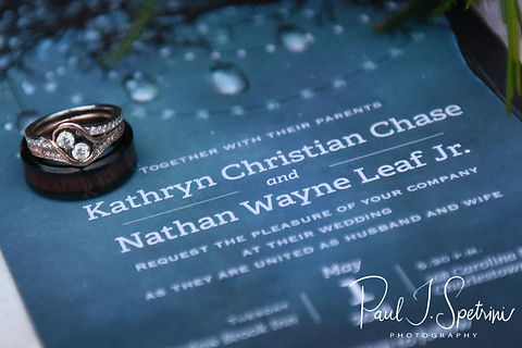 A look at Nate & Kaytii's wedding rings and invitation prior to their May 2018 wedding ceremony at Meadowbrook Inn in Charlestown, Rhode Island.