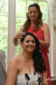 Stephanie has her veil put on prior to her June 2018 wedding ceremony at Foster Country Club in Foster, Rhode Island.