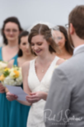 Amber reads her vows during her June 2018 wedding ceremony at North Beach Clubhouse in Narragansett, Rhode Island.