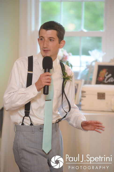 The best man gives the toast during Sean and Cassie's July 2017 wedding reception at Rachel's Lakeside in Dartmouth, Massachusetts.