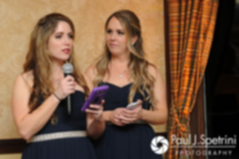 Amy's sisters give a speech during Nathan and Amy's November 2017 wedding reception at Quidnessett Country Club in North Kingstown, Rhode Island.