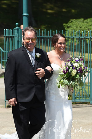 Danielle walks down the aisle during her August 2018 wedding ceremony at the Roger Williams Park Casino in Providence, Rhode Island.