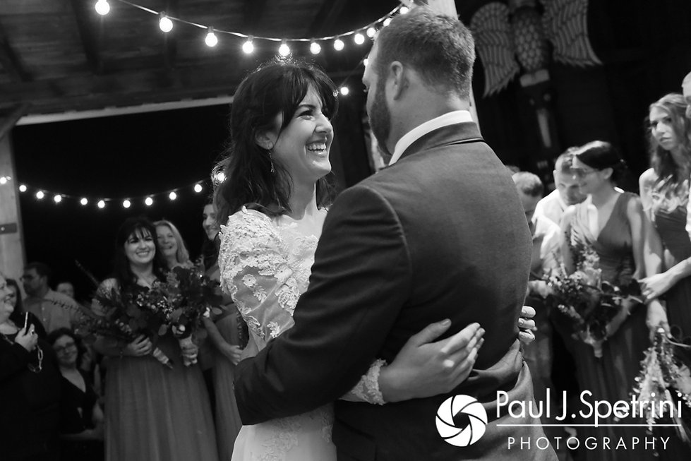 Samantha and Dale dance during their October 2017 wedding reception at the Golden Lamb Buttery in Brooklyn, Connecticut.