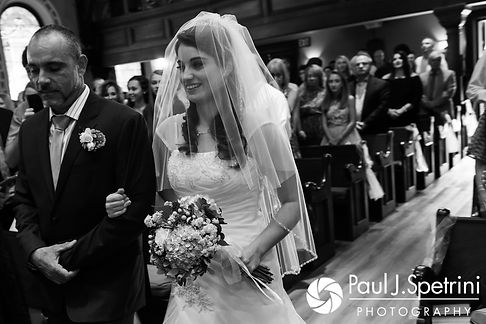 Gianna walks down the aisle during her July 2017 wedding ceremony at Peace Dale Congregational Church in South Kingstown, Rhode Island.