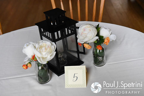 A look at the centerpieces for Ellen and Jeremy's May 2016 wedding at Bittersweet Farm in Westport, Massachusetts.