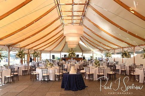 A look at the reception ballroom prior to David & Whitney's October 2018 wedding ceremony at Castle Hill Inn in Newport, Rhode Island.
