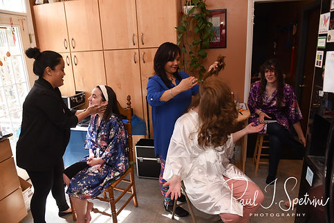 Kayti has her hair made up prior to her May 2018 wedding ceremony at Meadowbrook Inn in Charlestown, Rhode Island.