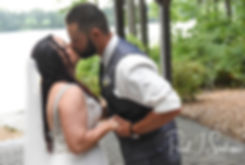 Lizzy and Gabe kiss during their September2018 wedding ceremony at Crystal Lake Golf Club in Mapleville, Rhode Island.