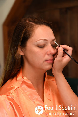 Jennifer has her makeup applied prior to her September 2017 wedding ceremony at Allen Hill Farm in Brooklyn, Connecticut.