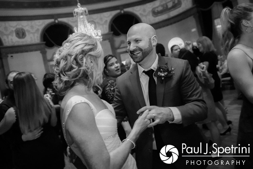Tricia and Kevin dance with guests during their October 2017 wedding reception at the Providence Biltmore in Providence, Rhode Island.