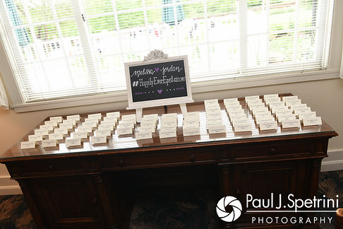 A look at Melissa and Jordan's place cards, on display during their May 2017 wedding reception at Independence Harbor in Assonet, Massachusetts.
