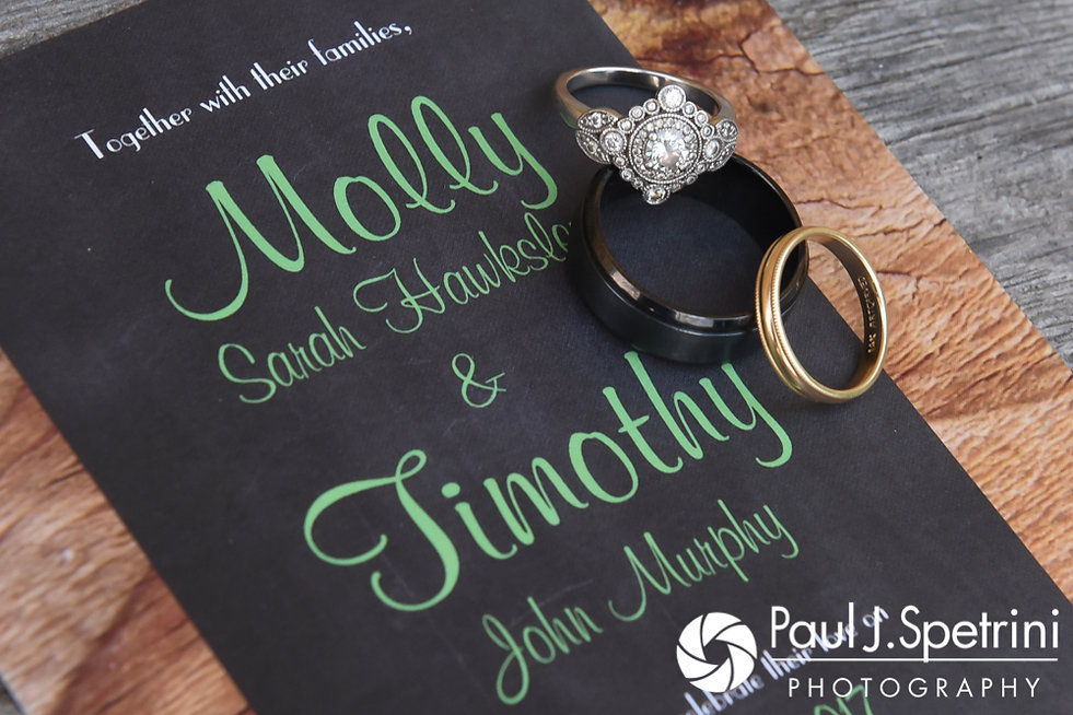A look at Molly and Tim's wedding rings and invitation prior to their June 2017 wedding reception at Farmhouse-By-The-Sea in Matunuck, Rhode Island.