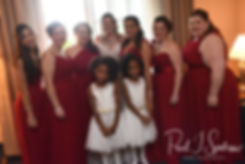 Makayla poses for a photo with her bridal party during her bridal prep session at Sturbridge Host Hotel and Conference Center In Sturbridge, Massachusetts prior to her October 2018 wedding.