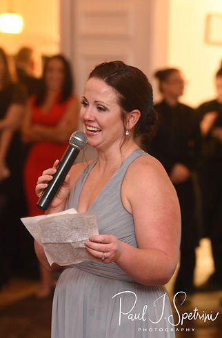 The maid of honor gives a speech during Amanda & Justin's November 2018 wedding reception at Five Bridge Inn in Rehoboth, Massachusetts.