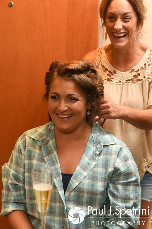 Toni has her hair done prior to her August 2017 wedding ceremony at Crystal Lake Golf Club in Mapleville, Rhode Island.