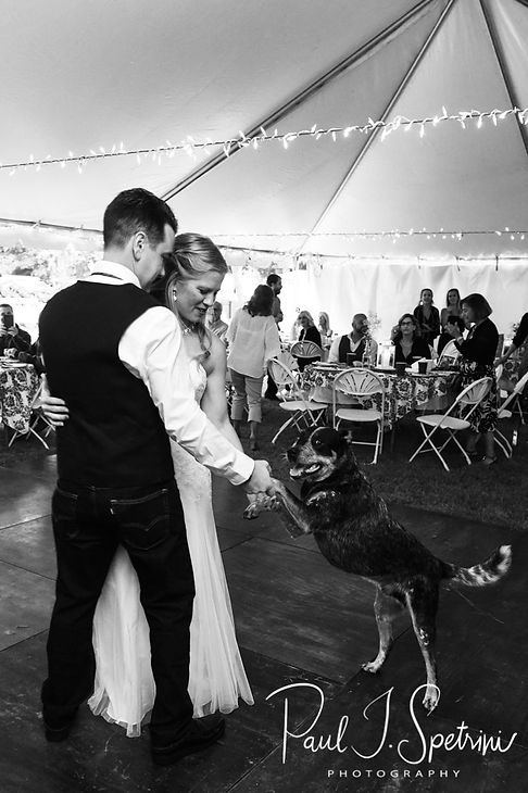 Josh & Kim dance during their September 2018 wedding reception at their home in Coventry, Rhode Island.