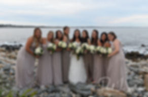Nicole poses for a photo with her bridesmaids following her September 2018 wedding ceremony at The Towers in Narragansett, Rhode Island.