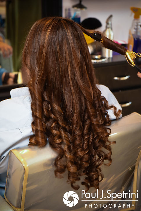 A look at Clarissa's hair prior to her June 2017 wedding ceremony at Twelve Acres in Smithfield, Rhode Island.